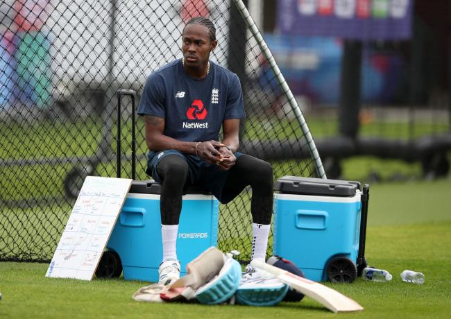 Jofra Archer takes a breather during today's nets session