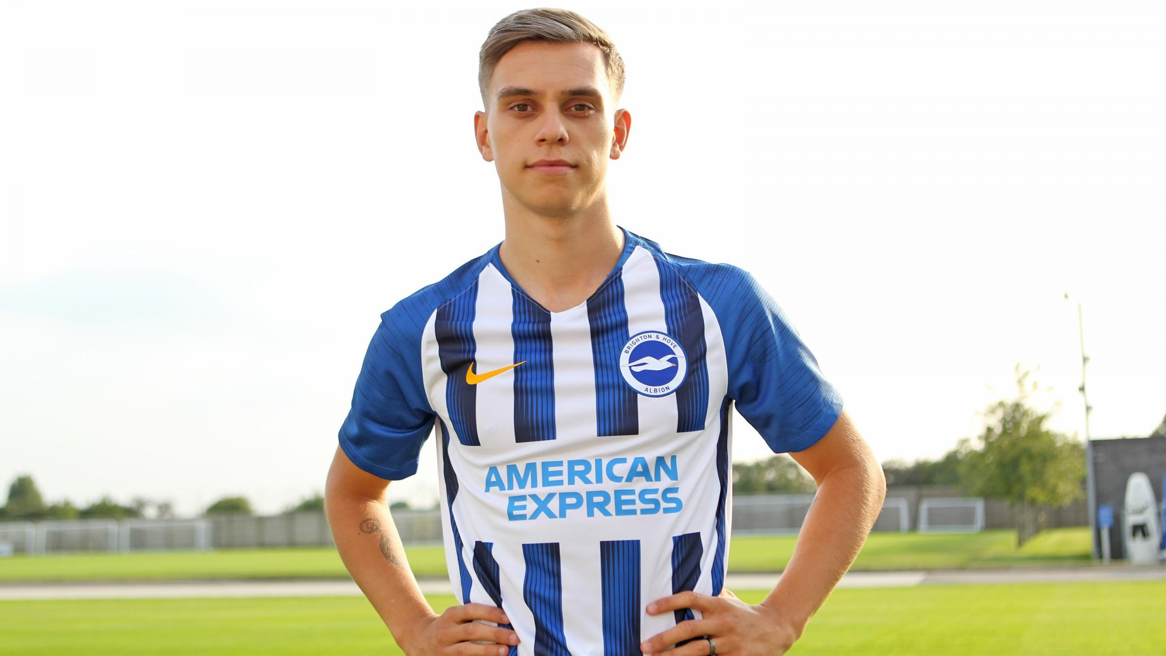 Leandro Trossard in his Brighton kit following the announcement of his transfer to the Seagulls.