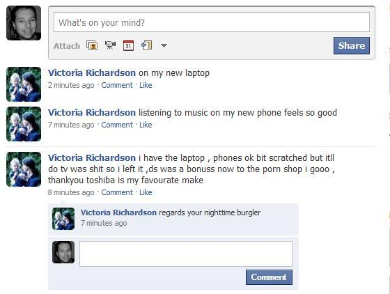 TAUNTS: The messages left on Victoria Richardson's Facebook profile