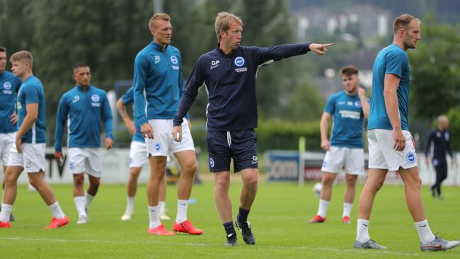 Graham Potter directs operations in Austria. Pictures Paul Hazlewood BHAFC