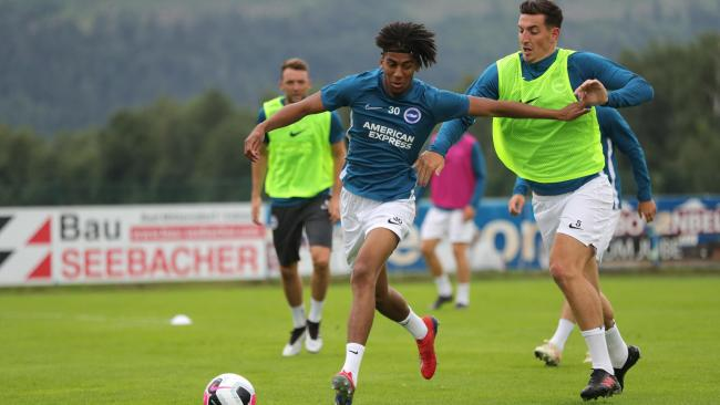 Bernardo holds off Lewis Dunk during Albion's Austrian training camp. Pictures Paul Hazlewood BHAFC