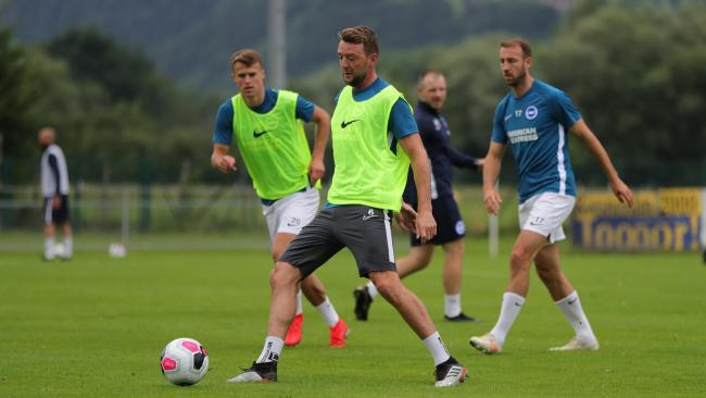Dale Stephens in pre-season training. Picture: BHAFC/PaulHazlewood