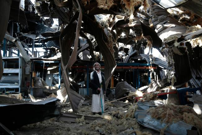 Aftermath of the attack on water pump factory CREDIT: Mohammed/AP/REX/Shutterstock