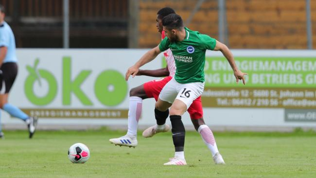 Alireza Jahanbaksh in action against FC Liefering. Picture by Paul Hazlewood/BHAFC