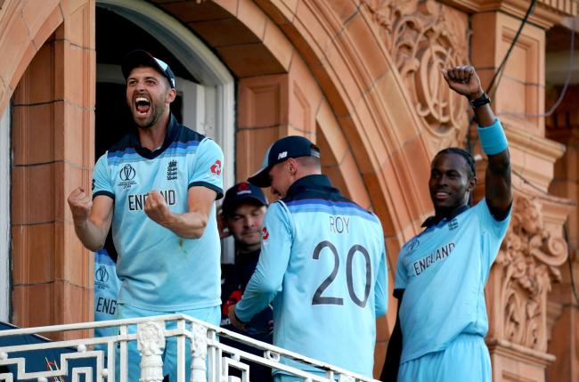 Jofra Archer joins the celebrations on the Lord's balcony