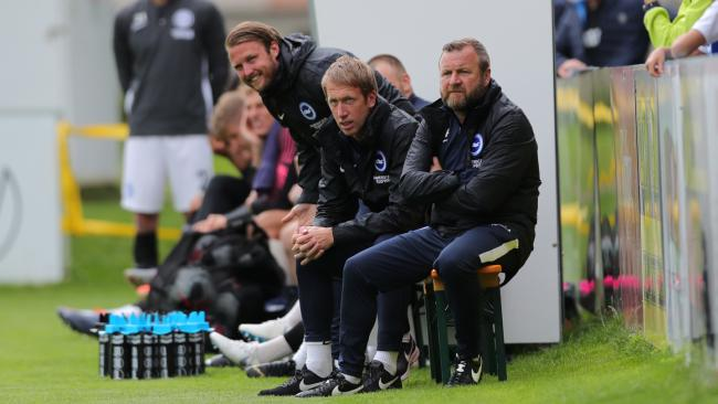 Graham Potter watches Albion win in Austria. Picture by Paul Hazlewood/BHAFC
