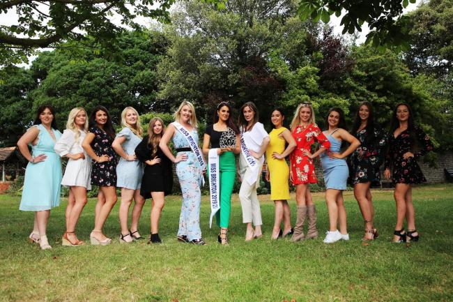 The contenders in Miss Brighton 2019 with 2018 winner Rebecca Kite, 2016 winner Megan O'Hara and director Keely Wythe