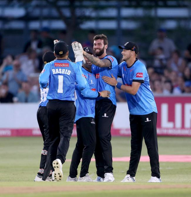 Reece Topley celebrates a wicket. Picture: Southern News and Pictures Ltd (SNAP)