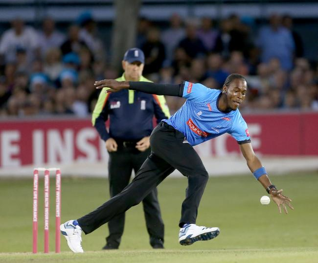 Jofra Archer in action for Sussex tonight. Picture: Stephen Lawrence/Sussex Cricket