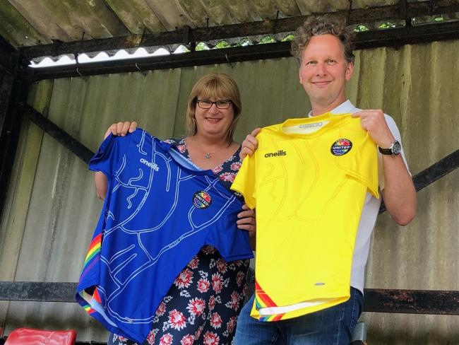 Transgender broadcaster Sophie Cook shows off the Rainbow Rovers shirt with designer David Shrigley