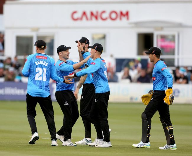 Luke Wright and Sussex celebrate a wicket in the big win over Glamorgan. Picture by Stephen Lawrence (SNAP)/Sussex Cricket
