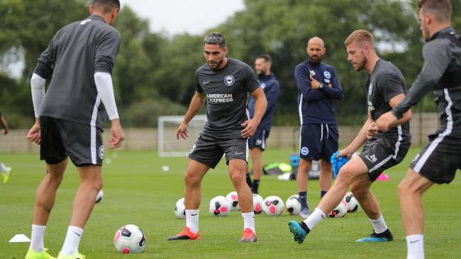 Neal Maupay gets down to work with Albion this week. Picture by Paul Hazlewood/BHAFC