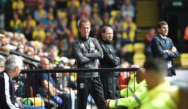 Graham Potter watches Albion win at Watford. Picture by Simon Dack