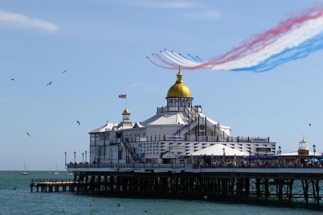 Red Arrows over Eastbourne Pier. ..Airbourne, Eastbourne Airshow, Picture by Mark Jarvis..