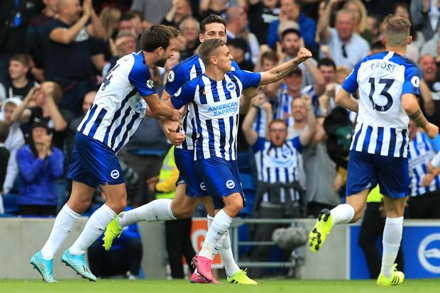 The Argus: Leandro Trossard (centre) grabbed his first Brighton goal