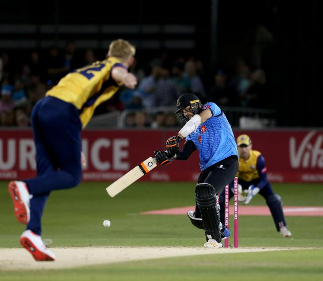 David Wiese hits a boundary for Sharks. Picture Steve Lawrence (SNAP/Sussex Cricket