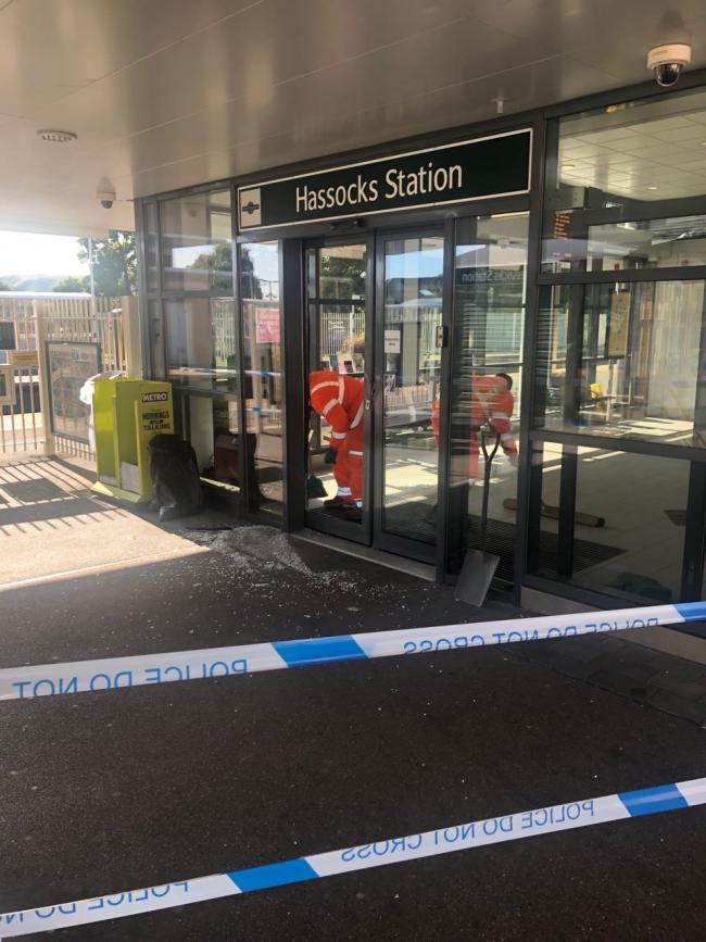 Rail station cordoned off as staff clear up damage from smashed door