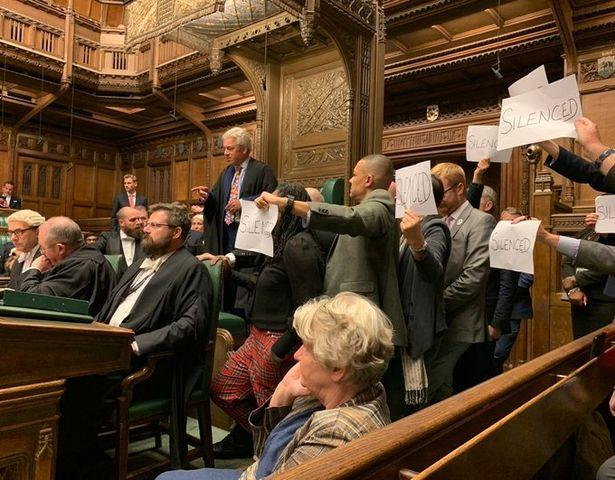 Protesting MPs gather around Speaker John Bercow's chair (Image: Stephen Morgan/Twitter)