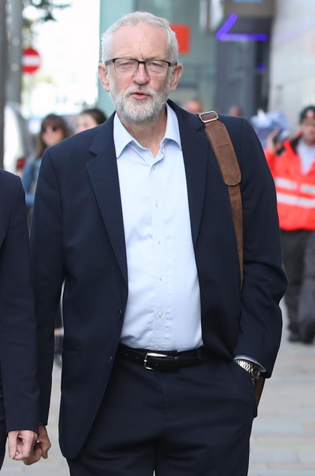 Labour leader Jeremy Corbyn arrives at The Landing in MediaCityUK in Salford where he is holding a shadow cabinet meeting. PRESS ASSOCIATION Photo. Picture date: Monday September 2, 2019. See PA story POLITICS Labour. Photo credit should read: Danny Lawso