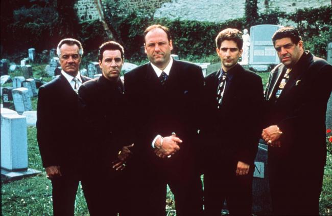 "Vincent Pastore, from left, Steve Van Zandt, James Gandolfini, Michael Imperioli and Tony Sirico, shown in this undated file photo, star in the HBO drama series ""The Sopranos."" The show received 16 Emmy nominations, including best drama series a"