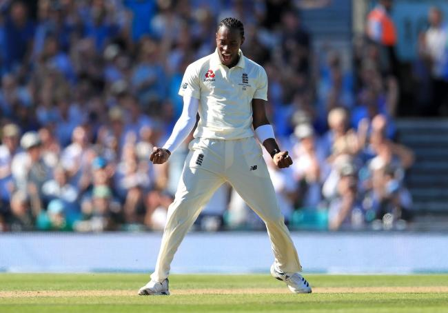 Jofra Archer celebrates a wicket during his six-for