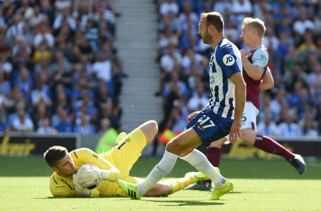 Glenn Murray nearly getting on the end of a through ball. Picture: Liz Finlayson.