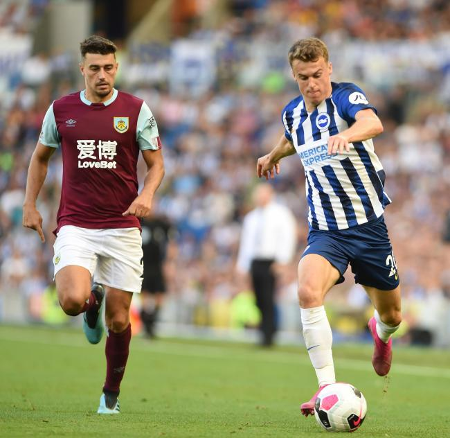 Solly March bursts forward for Albion against Burnley. Picture: Liz Finlayson