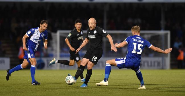 Aaron Mooy on the ball during the Carabao Cup match at Bristol Rovers in August