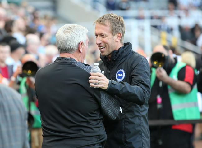 Graham Potter, right, has a number of injury concerns to check on after Glenn Murray and Solly March did not feature at St James Park. Picture: Richard Parkes