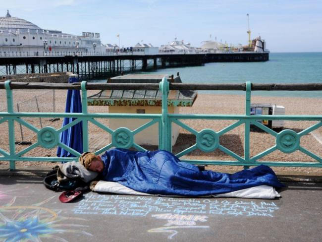 A homeless woman in Brighton