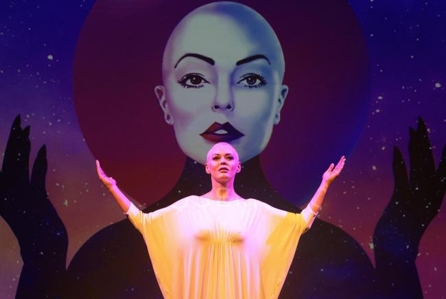 Rose McGowan in her show Planet 9 which premieres at Assembly for the Edinburgh Fringe from 15th to 18th August..Pic Gordon Terris/The Herald.14/8/19.