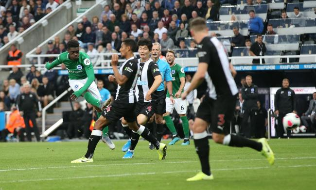 Yves Bissouma lets fly against Newcastle. Picture: Richard Parkes