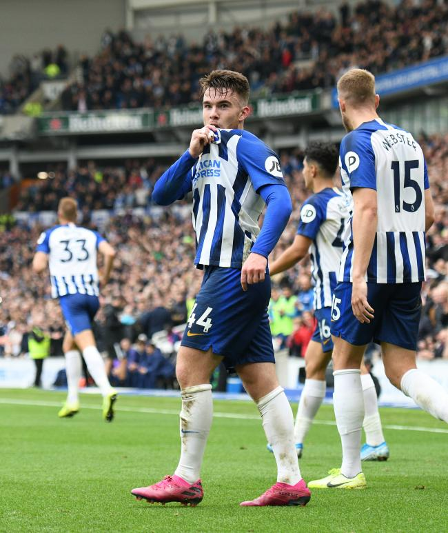 Albion's Aaron Connolly celebrates after scoring his second goal on his first Premier League start