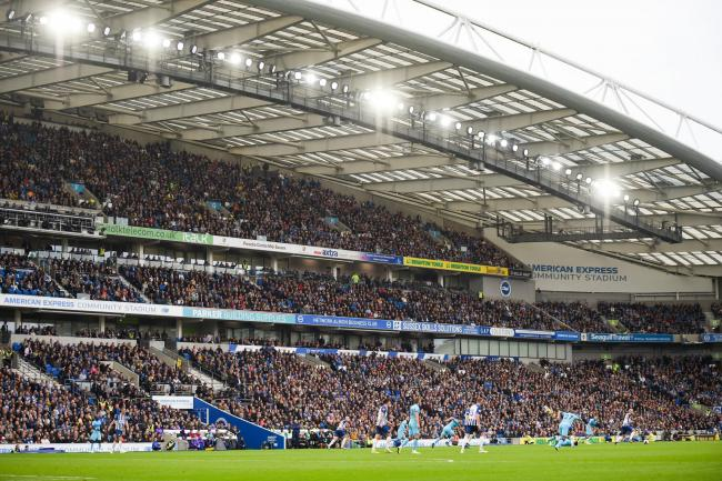 Brighton UK 5th October - The Premier League match between  Brighton and Hove Albion and Tottenham Hotspur at the Amex Stadium - Editorial use only. No merchandising. For Football images FA and Premier League restrictions apply inc. no internet/mobile usa