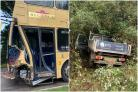 Bus windows shatter and doorway crumples after crash involving truck