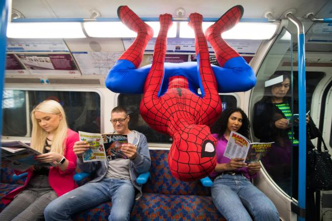 EMBARGOED TO 0001 WEDNESDAY OCTOBER 9FREE FOR EDITORIAL USE'Spider-Man' helps to announce that hundreds of comics will be distributed on public transport nationwide over the next month to celebrate 80 years of Marvel Comics. Commuters will b