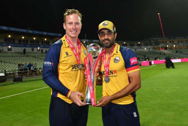 Ravi Bopara, pictured here with Simon Harmer after winning this year's Vitality Blast, has joined Sussex