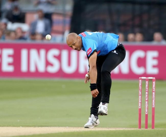 Tymal Mills in full flight (picture by Stephen Lawrence/Sussex Cricket)