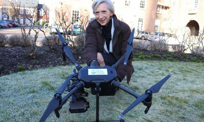 Then-West Sussex County Council leader Louise Goldsmith and her drone