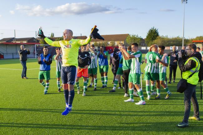 Chichester City celebrate their FA Cup glory. Picture: Neil Holmes/Chichester City FC.