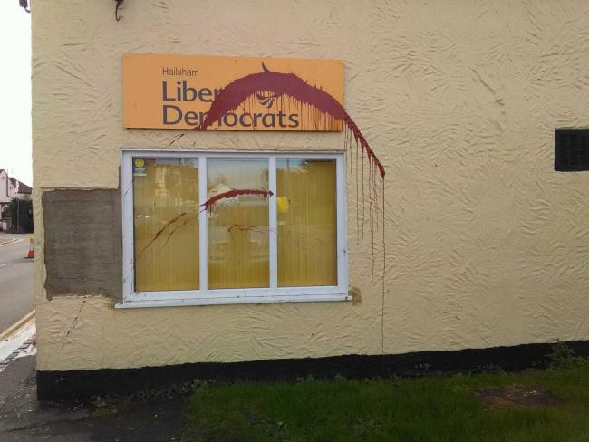 The Lib Dem office in Hailsham was vandalised for the third time this year