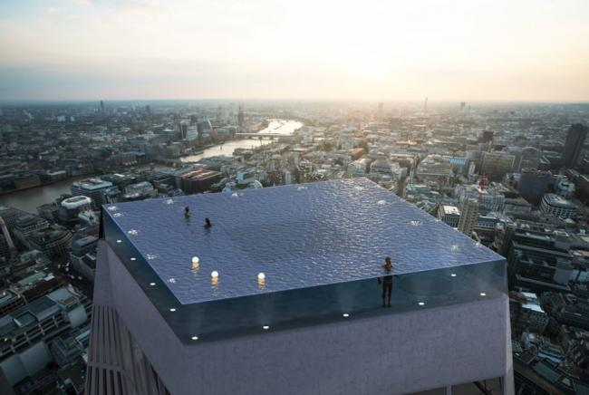 Alex Kemsley's design for Infinity London, a 200m high, 360-degree rooftop pool