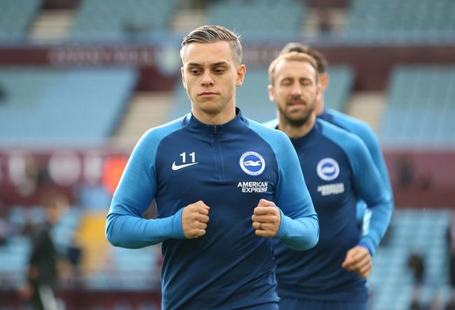 Leandro Trossard was with the team at Aston Villa and could figure against Everton if he comes through training well this week. Picture: Richard Parkes