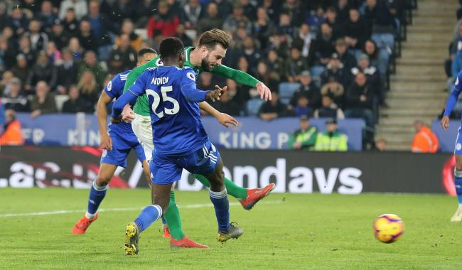 Davy Propper scores his only Albion goal so far, at Leicester City last season