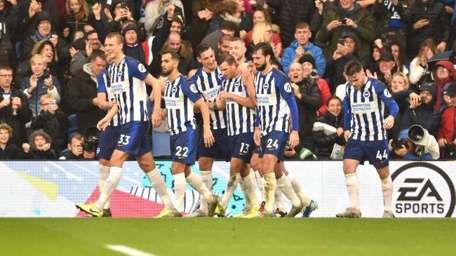 Albion players celebrating Pascal Gross' opener. Picture: Simon Dack.