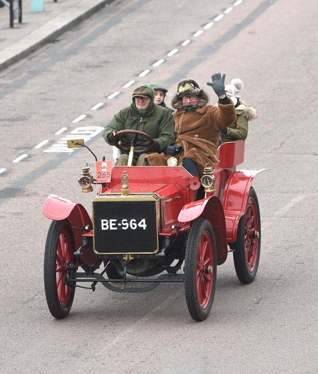 Brighton UK 4th November 2018 - Viscount Randal Dunluce in a 1903 Martini at the finish line  in the annual Bonhams London to Brighton Veteran Car Run supported by Hiscox . The run which starts in Hyde Park London and finishes in Madeira Drive on Brighton