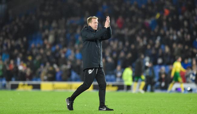 Albion head coach Graham Potter applauds the fans after a win over Norwich which puts them in good stead for a testing run of fixtures. Picture: Simon Dack
