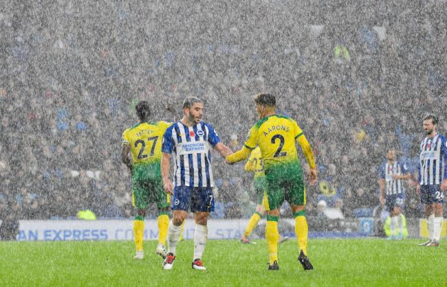 Neal Maupay, left, says teams will fear coming to the Amex because of Albion's home form