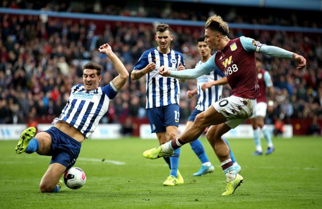 Jack Grealish goes for goal against Albion earlier this season