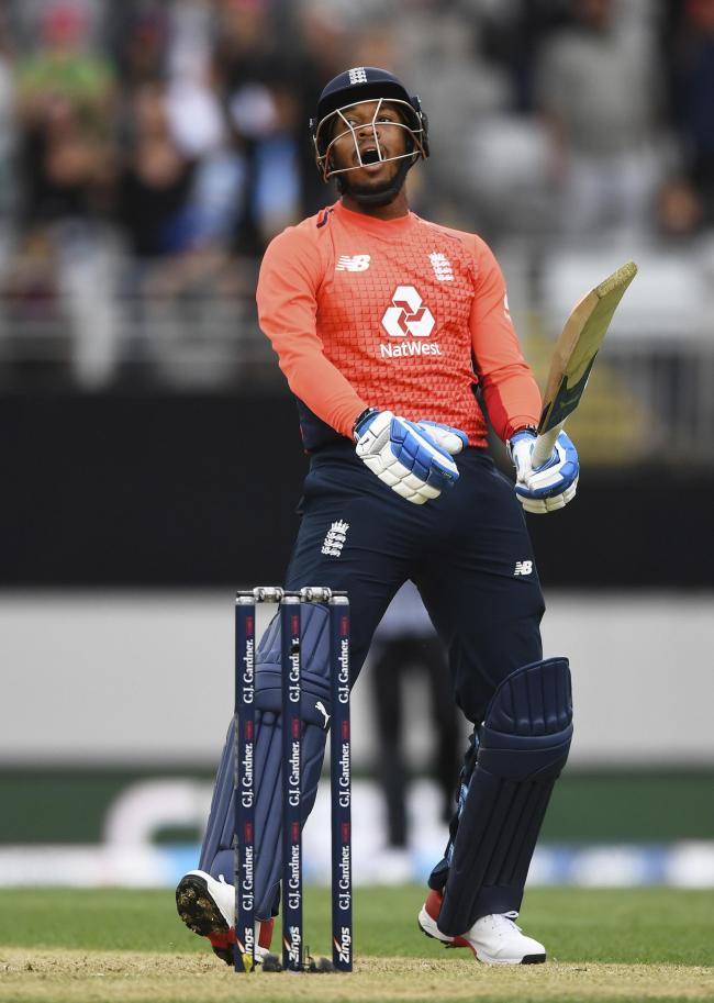 Chris Jordan reacts after hitting a four to force the Super Over